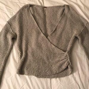 Free People Sensual Wrap Sweater. Sage Green